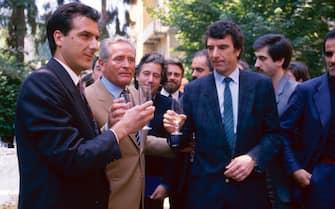 TURIN, ITALY: Juventus president Giampiero Boniperti with Gaetano Scirea and Dino Zoff  on 1980's  in Turin, Italy. (Photo by Juventus FC - Archive/Juventus FC via Getty Images)