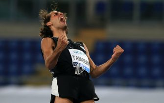 Gianmarco Tamberi (ITA) reacts after a jump during the high jump competition at the IAAF Pietro Mennea Golden Gala Diamond League Meeting at Stadio Olimpico on September 17th, 2020 in Rome, Italy.