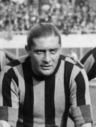 The footballer Giuseppe Meazza is photographed before a match in the 1930's wearing the Inter-Milan jersey. (Photo by - / AFP) (Photo by -/AFP via Getty Images)