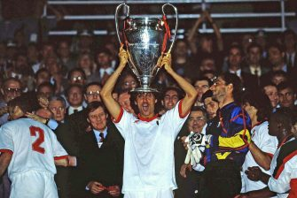 ATENE, GREECE - MAY 18: Paolo Maldini of AC Milan lifts the trophy after winnigns the Champions League Final match between AC Milan and Barcelona at Stadio Olimpico on May 18, 1994 Atene, Greece.  (Photo by Alessandro Sabattini/Getty Images)