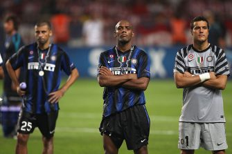 MONACO - AUGUST 27:  Maicon (C), Julio Cesar (R) and Walter Samuel (L) of Inter Milan stand dejected after their 0-2 defeat at the end of the UEFA Super Cup match between Inter Milan and Atletico Madrid at Louis II Stadium on August 27, 2010 in Monaco, Monaco.  (Photo by Michael Steele/Getty Images)