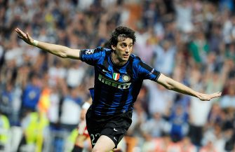 MADRID, SPAIN - MAY 22:  Diego Milito of Inter Milan celebrates after scoring second goal during the UEFA Champions League Final match between FC Bayern Muenchen and Inter Milan at Bernabeu on May 22, 2010 in Madrid, Spain.  (Photo by Giuseppe Bellini/Getty Images)