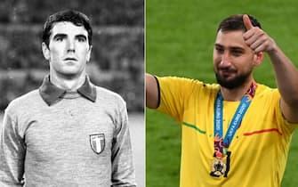 Dino Zoff e Gigio Donnarumma con la maglia della nazionale