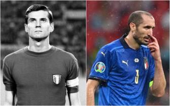 Giacinto Facchetti e Giorgio Chiellini con la maglia della nazionale