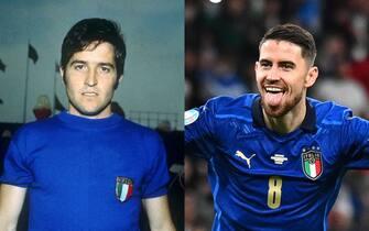 Giancarlo De Sisti e Jorginho con la maglia della nazionale