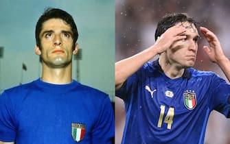 Angelo Domenghini e Federico Chiesa con la maglia della nazionale