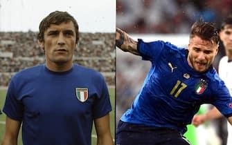 Gigi Riva e Ciro Immobile con la maglia della Nazionale