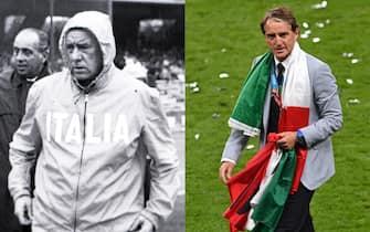 Ferruccio Valcareggi e Roberto Mancini in nazionale