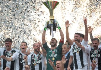 during the serie A match between Juventus and Hellas Verona FC at Allianz Stadium on May 19, 2018 in Turin, Italy.