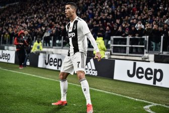 Juventus' Portuguese forward Cristiano Ronaldo celebrates after opening the scoring during the Italian Serie A football match Juventus vs Spal 2013 on November 24, 2018 at the Juventus stadium in Turin. (Photo by Marco BERTORELLO / AFP)        (Photo credit should read MARCO BERTORELLO/AFP via Getty Images)