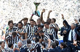 during the Serie A match between Juventus and Cagliari Calcio at Juventus Arena on May 18, 2014 in Turin, Italy.