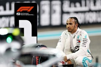 ABU DHABI, UNITED ARAB EMIRATES - NOVEMBER 30: Pole position qualifier Lewis Hamilton of Great Britain and Mercedes GP celebrates in parc ferme during qualifying for the F1 Grand Prix of Abu Dhabi at Yas Marina Circuit on November 30, 2019 in Abu Dhabi, United Arab Emirates. (Photo by Mark Thompson/Getty Images)