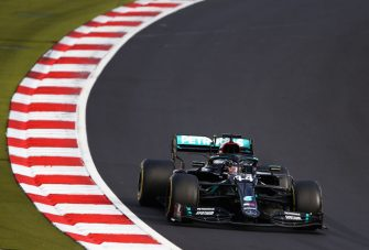 NUERBURG, GERMANY - OCTOBER 11: Lewis Hamilton of Great Britain driving the (44) Mercedes AMG Petronas F1 Team Mercedes W11 on track during the F1 Eifel Grand Prix at Nuerburgring on October 11, 2020 in Nuerburg, Germany. (Photo by Bryn Lennon/Getty Images)