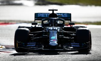 NUERBURG, GERMANY - OCTOBER 10: Lewis Hamilton of Great Britain driving the (44) Mercedes AMG Petronas F1 Team Mercedes W11 on track during qualifying ahead of the F1 Eifel Grand Prix at Nuerburgring on October 10, 2020 in Nuerburg, Germany. (Photo by Joe Portlock/Getty Images)
