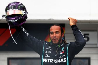 BUDAPEST, HUNGARY - JULY 19: Race winner Lewis Hamilton of Great Britain and Mercedes GP celebrates in parc ferme after the Formula One Grand Prix of Hungary at Hungaroring on July 19, 2020 in Budapest, Hungary. (Photo by Leonhard Foeger/Pool via Getty Images)