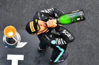 NUERBURG, GERMANY - OCTOBER 11: Race winner Lewis Hamilton of Great Britain and Mercedes GP celebrates on the podium during the F1 Eifel Grand Prix at Nuerburgring on October 11, 2020 in Nuerburg, Germany. (Photo by Getty Images/Getty Images)