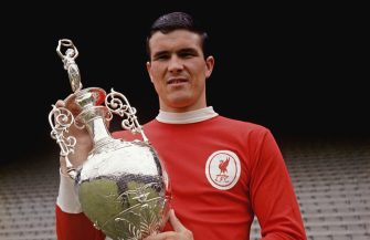 LIVERPOOL, UNITED KINGDOM - AUGUST 17: Ron Yeats of Liverpool with the 1965/66 League Division One trophy at Anfield, Liverpool circa 1966.   (Photo by Don Morley/Allsport/Getty Images) *** Local Caption *** Ron Yeats