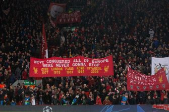 banner of all the champions league wins of liverpool we've conquered all of europe we're never gonna stop Rome 1977, london 1978, paris 1981, rome 1984, istanbul 2005 during the UEFA Champions League round of 16 match between Liverpool FC and Bayern Munich at Anfield on February 19, 2019 in Liverpool, United Kingdom(Photo by VI Images via Getty Images)