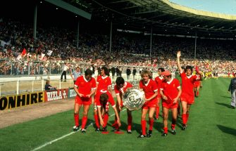 Undated:  The Liverpool team celebrate after winning the Charity Shield  at Wembley Stadium in London.  \ Mandatory Credit: Steve  Powell/Allsport