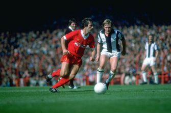 1979:  Jimmy Case (left) of Liverpool in action during a Football League Division One match against West Bromwich Albion at Anfield in Liverpool, England. \ Mandatory Credit: Allsport UK /Allsport