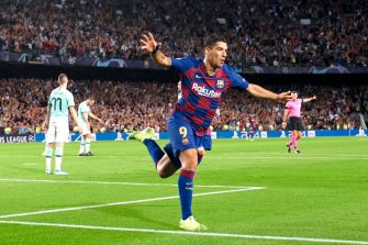 BARCELONA, SPAIN - OCTOBER 02: Luis Suarez of FC Barcelona celebrates his team's second goal during the UEFA Champions League group F match between FC Barcelona and Inter at Camp Nou on October 02, 2019 in Barcelona, Spain. (Photo by Quality Sport Images/Getty Images)