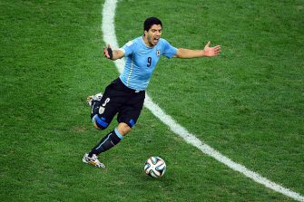 SAO PAULO, BRAZIL - JUNE 19: Luis Suarez of Uruguay reacts to a referee's during the 2014 FIFA World Cup Brazil Group D match between Uruguay and England at Arena de Sao Paulo on June 19, 2014 in Sao Paulo, Brazil.  (Photo by Matthias Hangst/Getty Images)