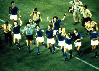 © Archivio LaPresse11-07-1982 Madrid, SpagnaCalcioCampionati mondiali di calcio 1982Italia-GermaniaNella foto: l'esultanza a fine partita dei giocatori.