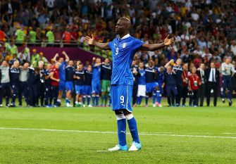 KIEV, UKRAINE - JUNE 24:  Mario Balotelli of Italy celebrates after Italy win during the UEFA EURO 2012 quarter final match between England and Italy at The Olympic Stadium on June 24, 2012 in Kiev, Ukraine.  (Photo by Martin Rose/Getty Images)