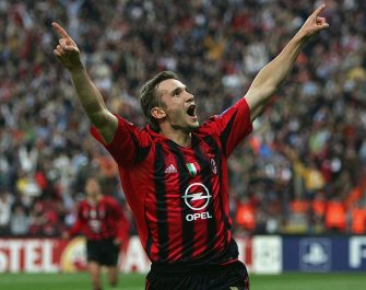 MILAN, ITALY - APRIL 26:  Andriy Shevchenko of AC Milan celebrates scoring the first goal during the UEFA Champions League semi-final first leg match between AC Milan and PSV Eindhoven at San Siro on April 26, 2005 in Milan, Italy.  (Photo by Alex Livesey/Getty Images)