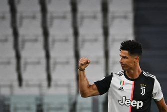 Juventus' Portuguese forward Cristiano Ronaldo celebrates after scoring a goal during the Italian Serie A football match between Juventus and Lazio, on July 20, 2020 at the Allianz stadium, in Turin, northern Italy. (Photo by Isabella BONOTTO / AFP) (Photo by ISABELLA BONOTTO/AFP via Getty Images)