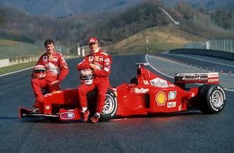 MUGELLO, ITALY - FEBRUARY 25:  FERRARI TESTFAHRTEN 1999 in Mugello; Eddie IRVINE/GBR, Michael SCHUMACHER/GER - PRAESENTATION -  (Photo by Tobias Heyer/Bongarts/Getty Images)