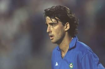 1990:  Portrait of Roberto Mancini of Sampdoria during a European Cup Winners Cup match. \ Mandatory Credit: Ben  Radford/Allsport