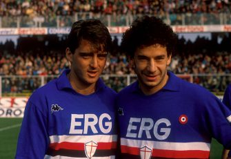 GENOA, ITALY - 01 SEPTEMBER 1989:  Roberto Mancini (L) and Gianluca Vialli of UC Sampdoria pose for a photo during the season 1989-1990