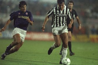 16 May 1990:  Gianluigi Casiraghi (centre) of Juventus is put under pressure by Dunga (left) of Fiorentina during the UEFA Cup Final second leg match in Avellino, Italy. The match ended in a 0-0 draw but Juventus won 3-1 on aggregate. \ Mandatory Credit:Simon  Bruty/Allsport