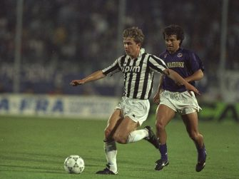 16 May 1990:  Giancarlo Marocchi of Juventus (left) is pursued by Dunga (right) of Fiorentina during the UEFA Cup Final second leg match  in Avellino, Italy. The match ended in a 0-0 draw but Juventus won 3-1 on aggregate. \ Mandatory Credit: Simon  Bruty/Allsport