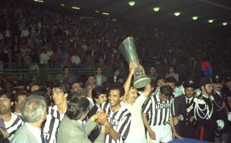 16 May 1990:  Sergei Aleinikou of Juventus holds aloft the trophy after their victory in the UEFA Cup Final second leg match against Florentina in Avellino, Italy. The match ended in a 0-0 draw but Juventus won 3-1 on aggregate. \ Mandatory Credit: SimonBruty/Allsport