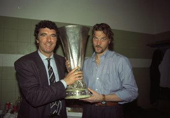 16 May 1990:  Dino Zoff (left) Juventus team coach and Stefano Tacconi (right) Captain of Juventus hold the UEFA Cup after the Final second leg match against Florentina in Avellino, Italy. The match ended in a 0-0 draw but Juventus won 3-1 on aggregate.\ Mandatory Credit: Simon  Bruty/Allsport