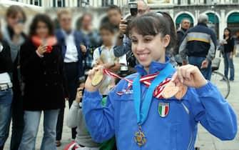 Vanessa Ferrari nel 2006 dopo il suo primo oro