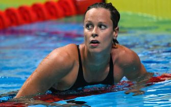 epa08748599 (FILE) - Federica Pellegrini of Italy reacts after the women's 200m freestyle semifinal during the swimming competitions of the World Aquatics Championships in the Duna Arena in Budapest, Hungary, 25 July 2017 (re-issued on 15 October 2020). On 15 October 2020 Federica Pellegrini announced on her Instagram account that she tested positive for COVID-19 coronavirus. 'I'm very sorry, I needed and wanted to return to racing, but it won't be like that', explained Pellegrini.  EPA/Tibor Illyes HUNGARY OUTHUNGARY OUT *** Local Caption *** 53669989