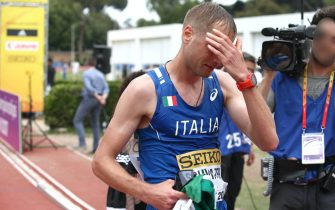 Alex Schwazer, winner of Iaaf World Race Walking Team Championships 50 km, Rome, 08 May 2016. ANSA / Giancarlo Colombo - Fidal - Press Office +++ANSA PROVIDES ACCESS TO THIS HANDOUT PHOTO TO BE USED SOLELY TO ILLUSTRATE NEWS REPORTING OR COMMENTARY ON THE FACTS OR EVENTS DEPICTED IN THIS IMAGE; NO ARCHIVING; NO LICENSING+++