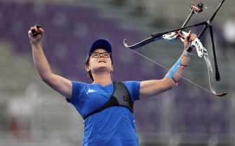 TOKYO, JAPAN - JULY 30: Lucilla Boari of Team Italy celebrates after winning the bronze medal in the archery Women's Individual competition on day seven of the Tokyo 2020 Olympic Games at Yumenoshima Park Archery Field on July 30, 2021 in Tokyo, Japan. (Photo by Justin Setterfield/Getty Images)