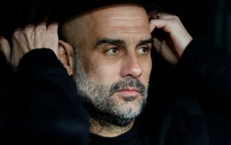 Manchester City manager Pep Guardiola during the UEFA Champions League match, round of 16 first leg, between Real Madrid v Manchester City at Santiago Bernabeu Stadium on February 26, 2020 in Madrid, Spain.