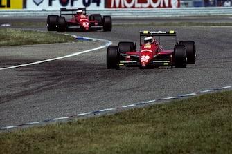 Gerhard Berger, Michele Alboreto, Ferrari F1/87/88C, Grand Prix of Germany, Hockenheimring, 24 July 1988. (Photo by Paul-Henri Cahier/Getty Images)