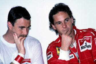 Gerhard Berger, Nigel Mansell, Grand Prix of Spain, Circuito de Jerez, 01 October 1989. (Photo by Paul-Henri Cahier/Getty Images)