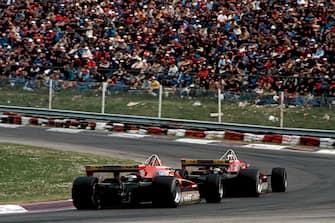 Didier Pironi, Gilles Villeneuve, Ferrari 126C2, Grand Prix of San Marino, Imola, 25 April 1982. Fierce battle between Didier Pironi and Gilles Villeneuve. (Photo by Paul-Henri Cahier/Getty Images)