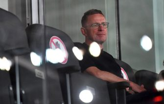 Ralf Rangnick, Red Bull's Head of Sport and Development Soccer, attends the tipico Bundesliga match in the master group round between Red Bull Salzburg and SK Puntigamer Sturm Graz on July 1, 2020 in Salzburg. (Photo by BARBARA GINDL / APA / AFP) / Austria OUT (Photo by BARBARA GINDL/APA/AFP via Getty Images)