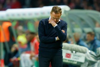 BERLIN, GERMANY - MAY 25: head coach Ralf Rangnick of RB Leipzig looks dejected during the DFB Cup final between RB Leipzig and Bayern Muenchen at Olympiastadion on May 25, 2019 in Berlin, Germany. (Photo by TF-Images/Getty Images)