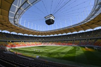 A picture show a general view inside the National Arena stadium, the venue to host four football matches of the UEFA Euro 2020 football tournament, in Bucharest, on April 25, 2021. - Held over from 2020 due to the pandemic, the European Championship will now be held in 11 different countries from June 11-July 11. (Photo by Daniel MIHAILESCU / AFP) (Photo by DANIEL MIHAILESCU/AFP via Getty Images)