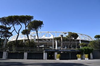 ROME, ITALY - MAY 06: General view outside the stadium prior to the UEFA Europa League Semi-final Second Leg match between AS Roma and Manchester United at Stadio Olimpico on May 06, 2021 in Rome, Italy. Sporting stadiums around Europe remain under strict restrictions due to the Coronavirus Pandemic as Government social distancing laws prohibit fans inside venues resulting in games being played behind closed doors. (Photo by Tullio Puglia - UEFA/UEFA via Getty Images)