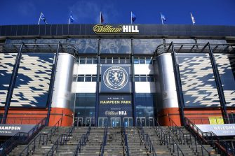 Hampden Park stadium is pictured in Glasgow on March 25, 2021. (Photo by Andy Buchanan / AFP) (Photo by ANDY BUCHANAN/AFP via Getty Images)
